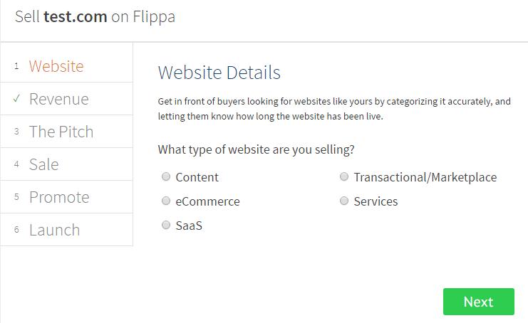 Flippa detalles página web