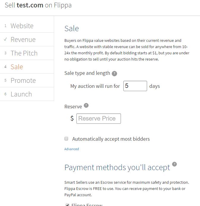 Flippa detalles venta