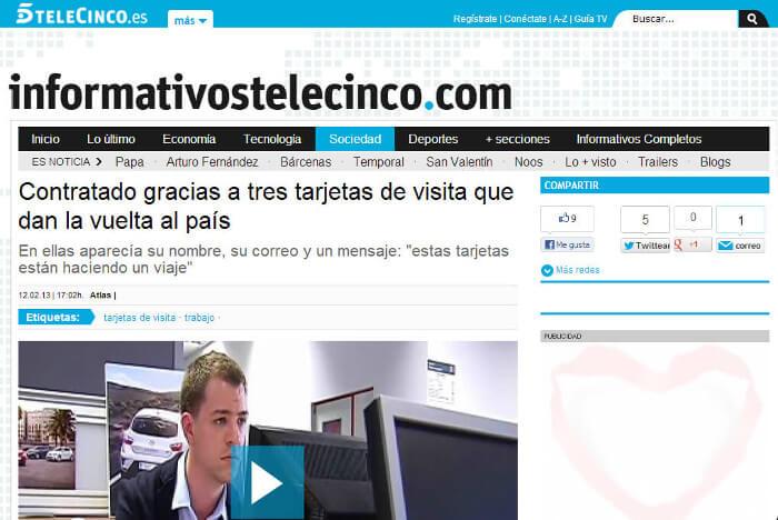 Noticia El Viaje de mi Tarjeta - Noticias Telecinco - Michiel Das