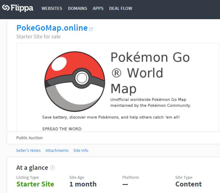 PokemonGo venta Flippa